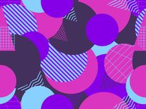 Modèle sans couture avec le style des années 1980 de cercles Retrowave Violette et pourpre Vecteur illustration libre de droits