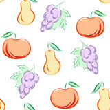 Modèle sans couture avec le style dessiné de fruits à disposition - dirigez l'illustration illustration stock
