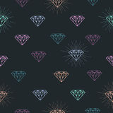 Modèle sans couture avec le symbole coloré de diamant d'ensemble illustration de vecteur
