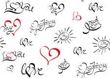 Modèle sans couture avec le texte au sujet de l'amour illustration stock