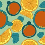 Modèle sans couture avec le thé Image libre de droits