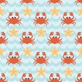 Modèle sans couture avec le troupeau des crabes et des étoiles de mer mignons de bande dessinée Photo libre de droits