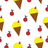 Modèle sans couture avec le vecteur de crème glacée et de cerises  illustration libre de droits