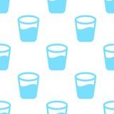 Modèle sans couture avec le verre avec de l'eau Images libres de droits