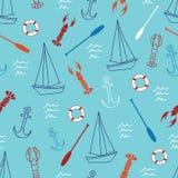Modèle sans couture avec le voilier, l'ancre, le homard, l'aviron et la bouée de sauvetage illustration stock