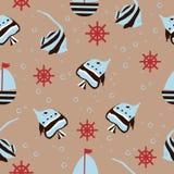 Modèle sans couture avec le yacht, les poissons, la barre et la bulle tirés par la main sur le fond comme tissu, textile, vêtemen illustration de vecteur