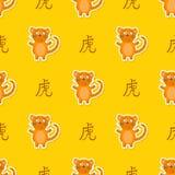 Modèle sans couture avec le zodiaque chinois Tiger Sign Photos libres de droits