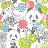 Modèle sans couture avec les éléments de conception et les têtes abstraits du panda Image stock