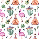 Modèle sans couture avec les éléments ethniques mexicains : cactus, sombrero, maracas, tipi, guitare, flamant image stock