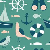 Modèle sans couture avec les éléments nautiques de conception illustration stock
