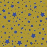 Modèle sans couture avec les étoiles bleues sur un fond olive d'or illustration de vecteur