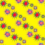 Modèle sans couture avec les étoiles colorées sur un fond jaune Images libres de droits