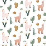 Modèle sans couture avec les alpaga et les cactus mignons Illustration Stock