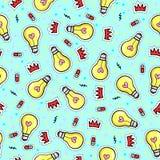 Modèle sans couture avec les ampoules, les coeurs et d'autres éléments illustration stock