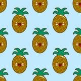 Modèle sans couture avec les ananas de sourire pendant des vacances d'enfants Fond d'ananas de vecteur Illustration mignonne de f Photos libres de droits