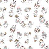 Modèle sans couture avec les animaux mignons dans une forme des oeufs de pâques dedans illustration libre de droits