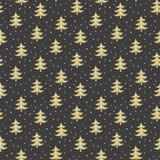 Modèle sans couture avec les arbres de Noël d'or sur le backgr noir illustration de vecteur