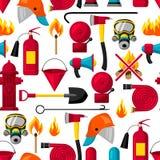 Modèle sans couture avec les articles de lutte contre l'incendie Équipement de lutte anti-incendie illustration libre de droits