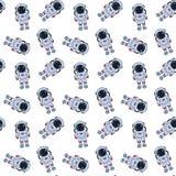 Modèle sans couture avec les astronautes tirés par la main illustration stock