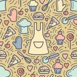 Modèle sans couture avec les attributs et le repas de cuisine illustration de vecteur