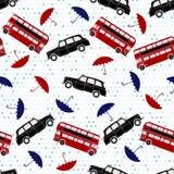 Modèle sans couture avec les autobus à impériale, le taxi et l'ONU de parapluies illustration libre de droits