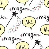 Modèle sans couture avec les baguettes magiques magiques, l'imagination et le texte manuscrit illustration de vecteur