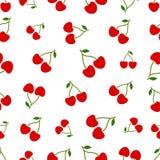 Modèle sans couture avec les baies rouges mûres de cerise Photographie stock