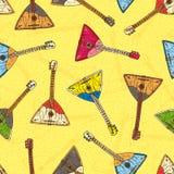 Modèle sans couture avec les balalaïkas en bois colorées illustration de vecteur