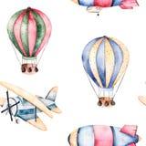 Modèle sans couture avec les ballons à air, le dirigeable et l'avion dans des couleurs en pastel illustration de vecteur