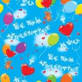 Modèle sans couture avec les ballons colorés, bea de nounours Image libre de droits