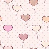 Modèle sans couture avec les ballons en forme de coeur Image libre de droits