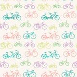 Modèle sans couture avec les bicyclettes tirées par la main Image stock