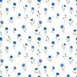 Modèle sans couture avec les bleuets bleus sur le blanc illustration de vecteur