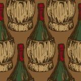Modèle sans couture avec les bouteilles de vin démodées Photos libres de droits