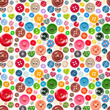 Modèle sans couture avec les boutons colorés Photo libre de droits