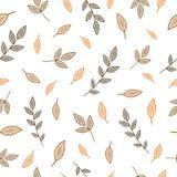 Modèle sans couture avec les branches simples et les feuilles brunes et oranges illustration libre de droits