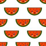 Modèle sans couture avec les caractères mignons de kawaii de fruit de pastèque sur le fond blanc Vecteur plat de conception Image stock