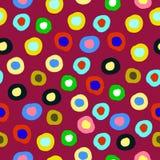 Modèle sans couture avec les cercles colorés de griffonnage Image stock