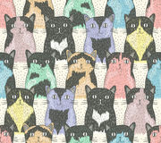 Modèle sans couture avec les chats mignons Photographie stock