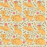 Modèle sans couture avec les chats mignons de gingembre dans le style puéril illustration de vecteur