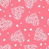 Modèle sans couture avec les coeurs blancs Branches avec des feuilles au coeur Jour de Valentine images stock