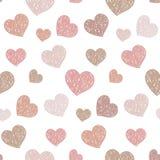 Modèle sans couture avec les coeurs chaotiques Des formes ombragées sont arrangées dans l'ordre aléatoire fond romantique Photographie stock libre de droits
