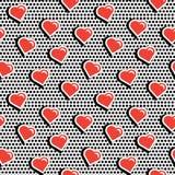Modèle sans couture avec les coeurs colorés de forme d'insigne sur le fond pointillé noir illustration stock