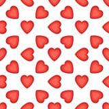 Modèle sans couture avec les coeurs gentils Rouge sur le fond blanc Illustration de jour de valentines illustration libre de droits