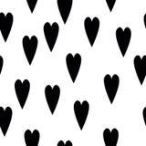 Modèle sans couture avec les coeurs tirés par la main Backgr sale de coeur d'encre Illustration Libre de Droits