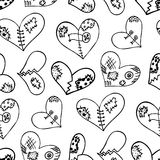 Modèle sans couture avec les coeurs tirés par la main de griffonnage d'encre Photographie stock libre de droits