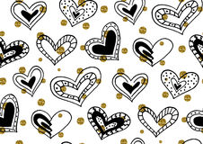 Modèle sans couture avec les coeurs tirés par la main de griffonnage d'encre Photos libres de droits