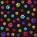 Modèle sans couture avec les copies colorées de pied animal, pattes illustration stock