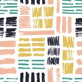 Modèle sans couture avec les courses colorées lumineuses de brosse sur le fond blanc Contexte créatif avec les marques approximat illustration libre de droits