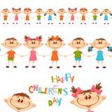 Modèle sans couture avec les enfants mignons Titre du jour des enfants heureux Illustration de vecteur Images stock